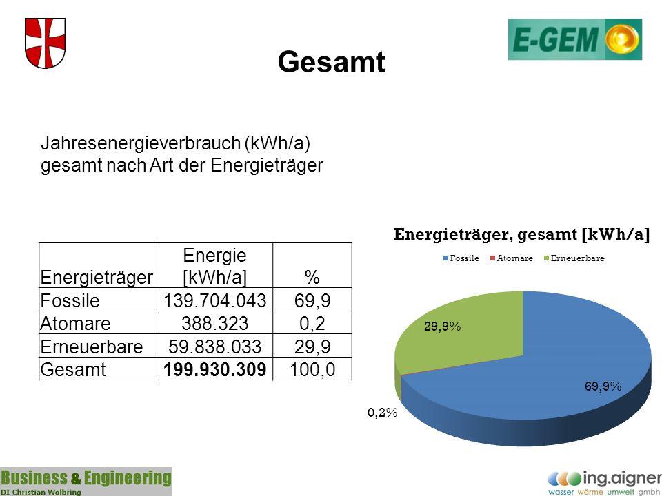 Gesamt Jahresenergieverbrauch (kWh/a) gesamt nach Art der Energieträger. Energieträger. Energie [kWh/a]